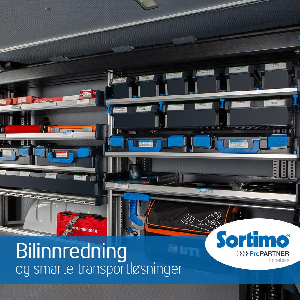 Bilinnredningen fra Sortimo sørger for orden i varebilen. Vi tilbyr også spesial løsninger til bilinnredningen.